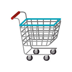 cart shopping supermarket market carrying store vector illustration isolated