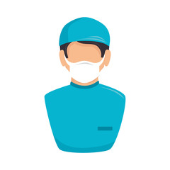 surgeon nurse uniform man male hospital health medical vector illustration isolated