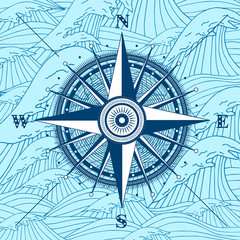 Vector compass rose detailed illustration for vacation project. Travel tool design with sea waves background