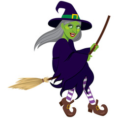 Ugly green evil witch flying on a broom isolated on white background