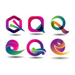 Search photos q abstracts abstract colorful q logo set of letter q logo reheart Gallery