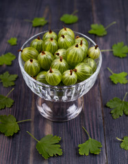Green gooseberry in a bowl on