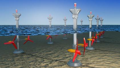 Tidal energy illustration ,  3D illustration Wall mural