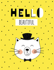 ''Hello beautiful'' hand lettering quote. Hand drawn typography poster.