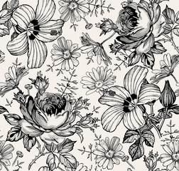 Seamless pattern. Beautiful black blooming realistic isolated flowers. Vintage background. Chamomile Rose hibiscus mallow wildflowers. Wallpaper. Drawing engraving. Vector victorian Illustration.