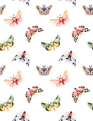 Butterflies and moths on white texture. Handpainted watercolor seamless background. Perfect for you unique creation,print,wallpaper,greeting card,invitations etc