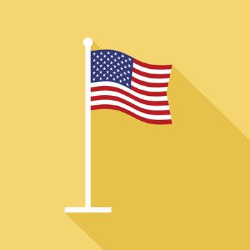 USA Flag on Flagpole Vector Flat Icon