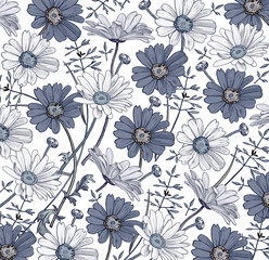 Chamomile. Classic pattern. Beautiful blue flowers isolated realistic. Vintage background with blooming flowers. Drawing, engraving. Freehand. Wallpaper. Vector victorian style Illustration.