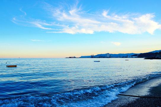 sunset over the sea in Albissola Savona Italy