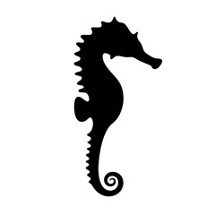 black silhouette of seahorse