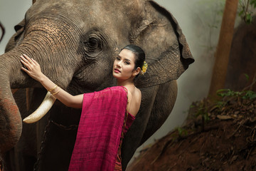 Asia woman and elephant with Thai culture traditional.