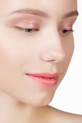 Make-up & cosmetics. Closeup portrait of beautiful woman model f