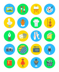 Art and crafts flat vector round icons set. Colorful symbols of painting, architecture, sculpture, writing, music, ballet, theater, cinema, calligraphy, photography, pottery, jewelry and tailoring