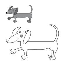 dog Dachshund coloring. vector illustration of cartoon.