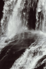 Waterfall in Hardangervidda in Norway - black and white