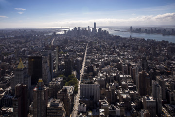 Panorama aereo con vista su Manhattan,New York City, visto dalla cima dell' Empire State Building