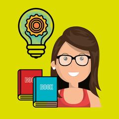 woman books idea icon vector illustration graphic