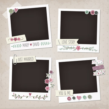 Vintage scrapbook set of photo frames with flowers, laurels, wreaths, stickers, washi tapes, buttons. Wedding scrapbook elements.