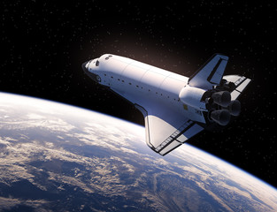 Fototapete - Space Shuttle In Space