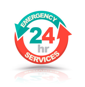 Emergency services 24 hours icon. Vector illustration