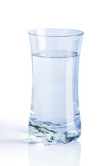 A glass of water on a white background.