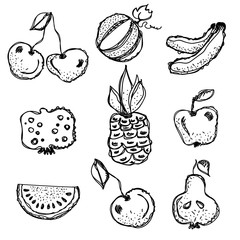Vector fruits set. Hand drawn black and white fruits illustration of cherry, watermelon, banana, pomegranate, pineapple, apple, pear, berry, isolated on the white background. Line drawing,