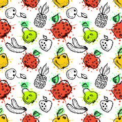 Seamless vector pattern. Hand drawn  fruits illustration of colorful cherry, pomegranate, pineapple, banana, pear, berry, strawberry with splash and drop, on the white background. Line drawing,