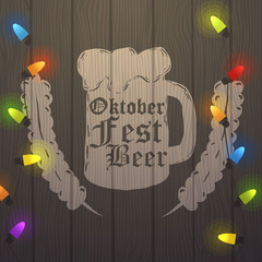 Vector oktoberfest Illustration. Oktoberfest handdrawn art. Beer festival