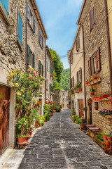 Fototapeta Narrow paved street in the old town in Italy