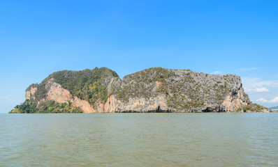 Landscapes of limestone island in Phang Nga Bay National Park, Thailand. Imagine as Wild boar and tiger image on cliff
