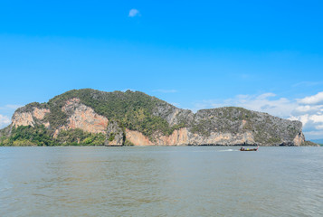 Landscapes of limestone island in Phang Nga Bay National Park, Thailand. Imagine as Wild boar and tiger image on cliff.