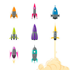 Rocket ships in different colors, shapes and sizes