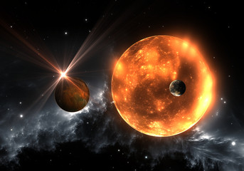 Extrasolar planets or exoplanets and red dwarf or red supergiant. 3D illustration