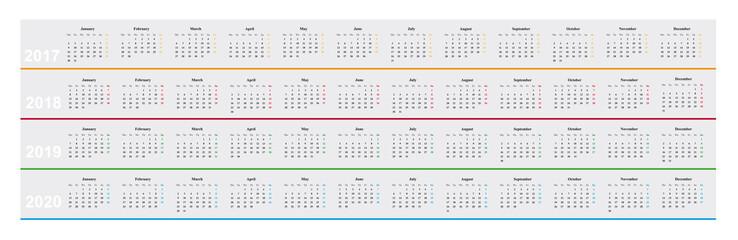 Kalender 2017, 2018, 2019, 2020, einfaches Design, Monate nebeneinander, Jahre untereinander