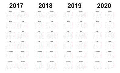 Kalender 2017, 2018, 2019, 2020, Vorlage, einfaches Design