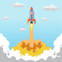 Rocket vector start up business. Space rocket launch. The rocket takes off. Rocket vector. A rocket engine works. The power and strength of rockets.