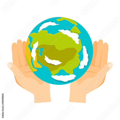 People holding earth  globe in hands concept of happy earth day eco