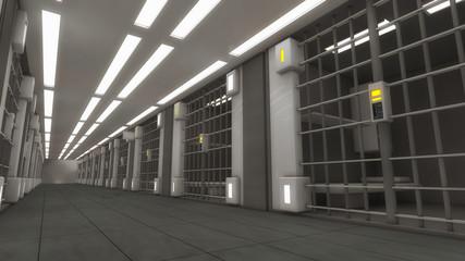 3d futuristic interior jail