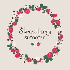 Strawberry floral frame/wreath