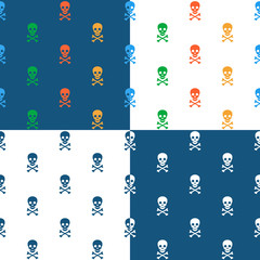 Skull and crossbones repeat seamless pattern