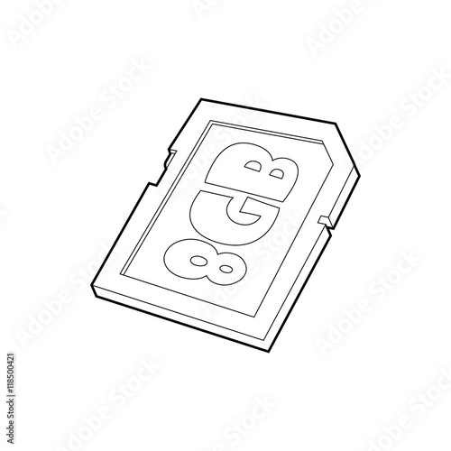 Memory Card 8 Gb Icon In Outline Style Isolated On White Background