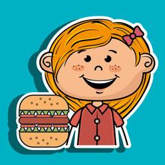 girl burger fast food vector illustration graphic