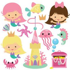 Cute mermaid vector illustration