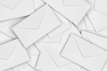 White Blank Envelope Pile, 3D Rendering