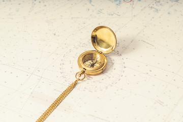 Navigation still-life. Skippers equipment and a map