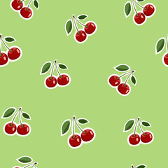 Pattern of red small cherry stickers same sizes with leaves on light green background