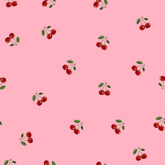 Pattern of red small cherry same sizes with leaves on pink background