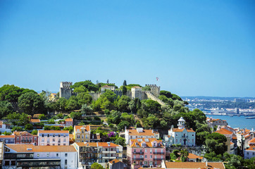 Lisbon cityscape with St George castle, Portugal