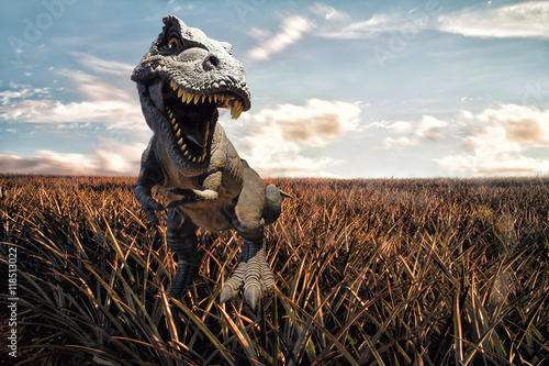 Dinosaurs model with field background