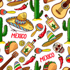 seamless background of traditional Mexican items